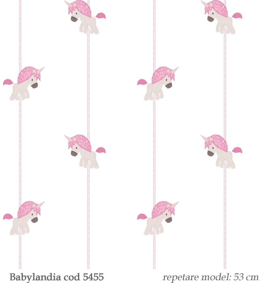 tapet-unicorni-roz--gama-Babylandia-cristiana-masi-cod-5455