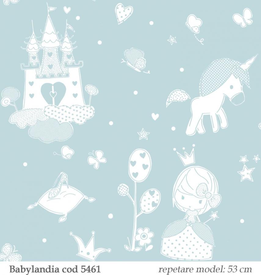 tapet-unicorni-verde-deschis-pentru-copii-gama-Babylandia-parato-cristiana-masi-cod--5461
