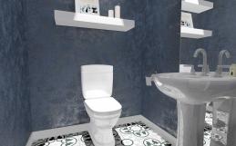 Amenajare baie de serviciu cu tencuiala decorativa sidefata